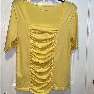 Soft Surroundings Top, Front Ruching, XL, Yellow